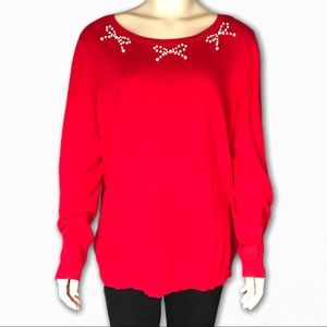 Red Sweater w/Pearl Bow Embellishments by Elle
